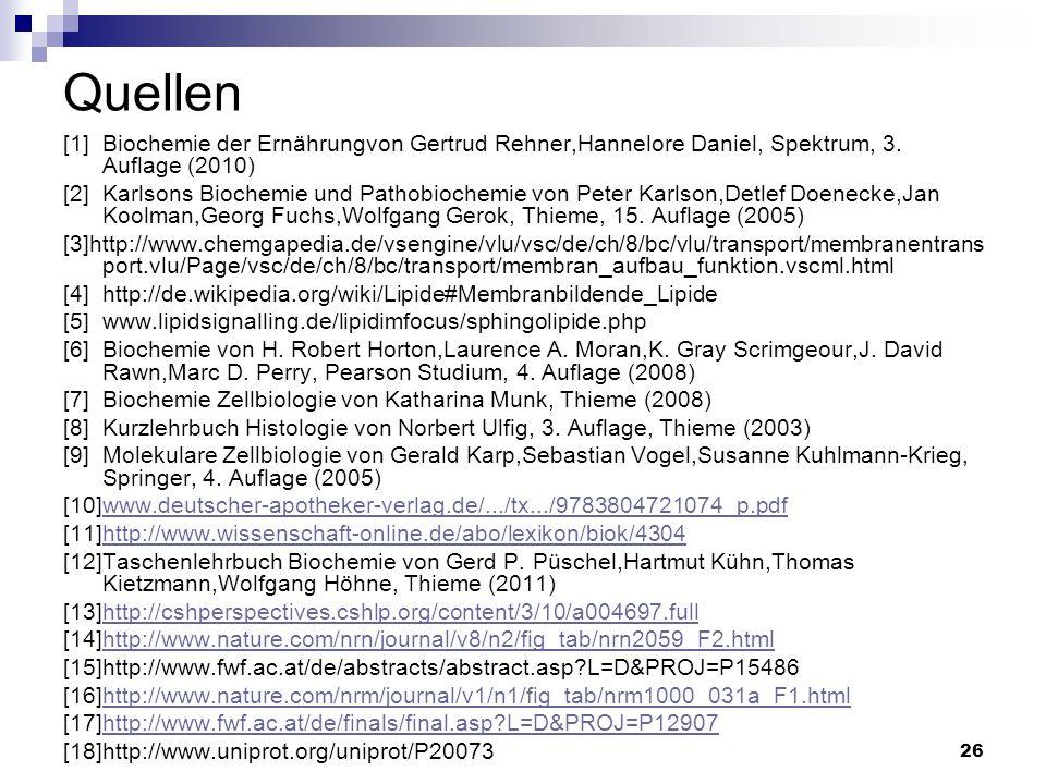 Quellen [1] Biochemie der Ernährungvon Gertrud Rehner,Hannelore Daniel, Spektrum, 3. Auflage (2010)